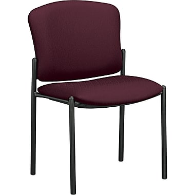 HON® Pagoda® Fan Back Upholstered Armless Stacking Chair, Burgundy