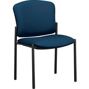 HON® Pagoda® Fan Back Upholstered Armless Stacking Chair, Blue