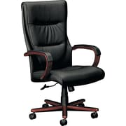 Basyx™ by HON® VL844 High-Back Leather Executive Chair, Mahogany Base