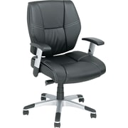 Alera ALENP42LS10S Napoleon Leather Mid-Back Managers Chair with Adjustable Arms, Black