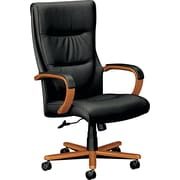 Basyx™ by HON® VL844 High-Back Leather Executive Chair, Bourbon Cherry Base
