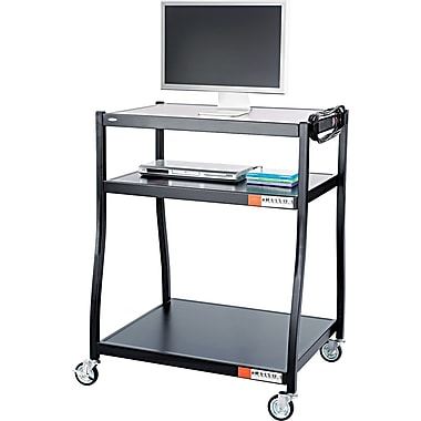 Safco® 28in.D Wide Base AV Cart, Black