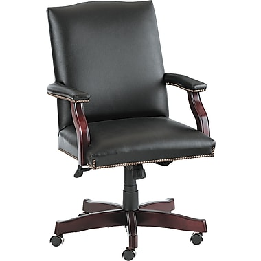 HON® Jackson Traditional Wood Seating 6570 Series Leather Management, Black