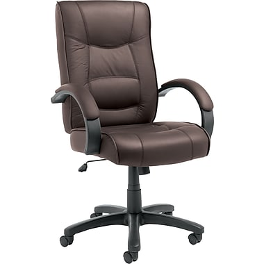 Alera Strada High-Back Leather Executive Chair, Fixed Arms, Brown