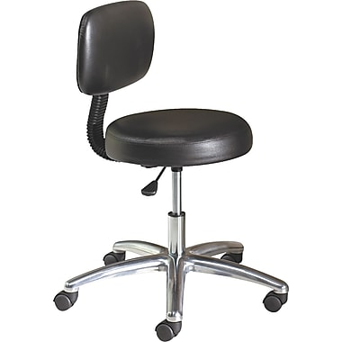 HON® Adjustable Swivel Task/Lab Stool Vinyl Healthcare Black, 31 1/2in. - 36in.H x 24 1/4in.W x 27 1/4in.D
