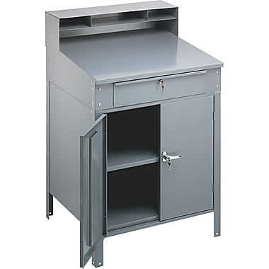Tennsco® Steel Shop Desks Heavy Gauge Steel Desk, Medium Gray