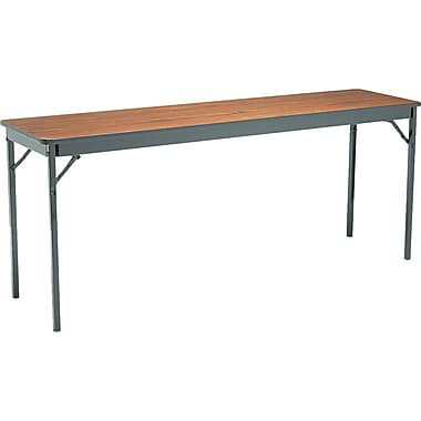 Barricks Laminate Special Size 6' Folding Table Laminate Walnut/Black, 18'' Wide