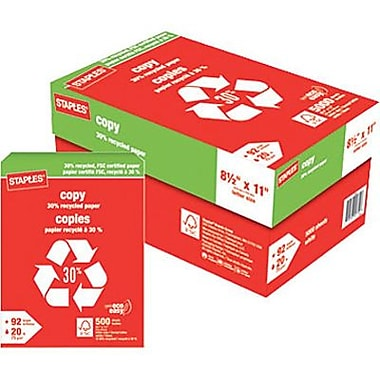 Staples® 30% Recycled FSC-Certified Copy Paper, 8-1/2