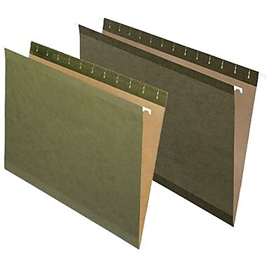 Staples® 100% Recycled Reinforced Hanging File Folders, Green