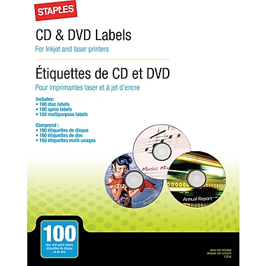 Staples CD/DVD Labeling Refills, 100 Pack