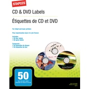 Staples® CD/DVD Labels, 50/Pack