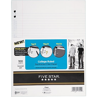 Mead Five-Star Reinforced Page Jog Filler Paper, 100/Pack