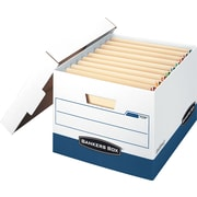 "BANKERS BOX® STOR/FILE™ End Tab Storage Boxes, End Tab, Stacking Strength 650 lb., White/Blue, 10""H x 12 3/4""W x 15 1/2""D"