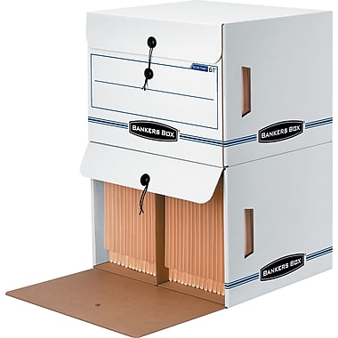 BANKERS BOX® SIDE-TAB™ Drop-Front Storage Boxes, Letter, End Tab, White/Blue, 10 3/4