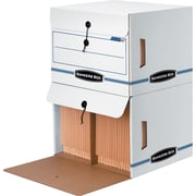 "BANKERS BOX® SIDE-TAB™ Drop-Front Storage Boxes, Letter, End Tab, White/Blue, 10 3/4""H x 15 1/4""W x 13 1/2""D"