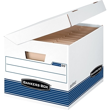 BANKERS BOX® SYSTEMATIC® Medium-Duty Storage Boxes, Letter/Legal, Stacking Strength 600 lb., White/Blue, 10