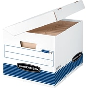 "BANKERS BOX® SYSTEMATIC® Medium-Duty Storage Boxes, Letter/Legal, Stacking Strength 600 lb., White/Blue, 10""H x 12 1/8""W x 15"""