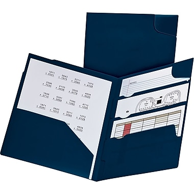 Oxford Divide-It-Up Poly 4-Pocket Folder, Navy