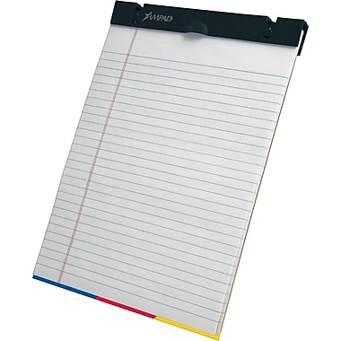 Ampad® SimpleSort Crossover Writing Pad, Wide Ruled, White, 8-1/2in. x 11in.