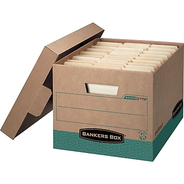 Bankers Box® Recycled R-Kive® Letter/Legal Heavy-Duty Storage Box, 4/Pack (1277504)