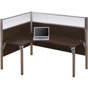 Bestar Pro-Biz Office System Single Left L-Desk Workstation, Full Wall, Chocolate