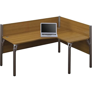 Bestar Pro-Biz Office System Single Right L-Desk Workstation, 3/4 Wall, Cappuccino Cherry