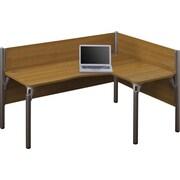 Bestar Pro-Biz Office System Single Right L-Desk Workstation, 3/4 Wall, Cappuccino Cherry