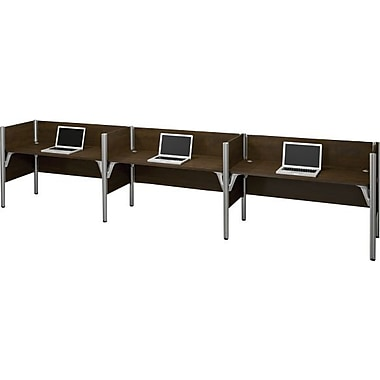Bestar Pro-Biz Office System Triple Side-by-Side Workstation, 3/4 Wall, Chocolate