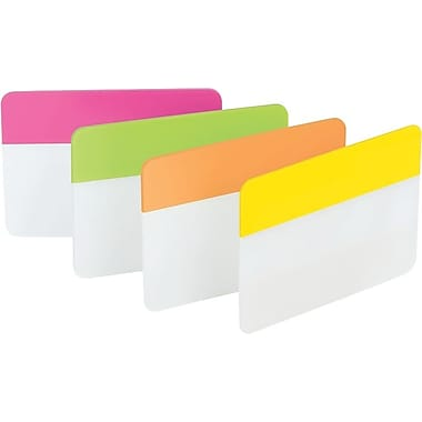 Post-it® 2in. Durable Filing Tabs, Pink/Lime/Orange/Yellow, 24 Tabs/Pack