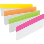 "Post-it® Durable File Tabs, Assorted Bright Colors, 3"" x 1 1/2"", 24/Pk"