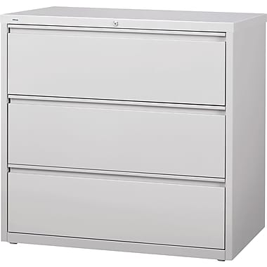 Staples® HL8000 Commercial 42in. Wide 3 Drawer Lateral File Cabinet, Light Gray