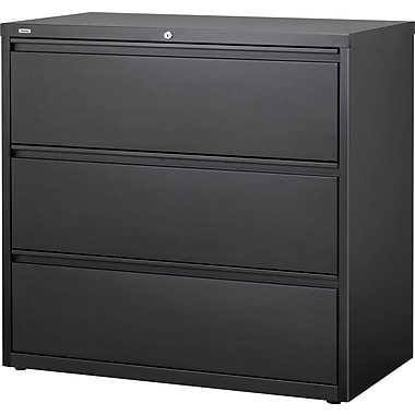 Staples® HL8000 Commercial 42in. Wide 3 Drawer Lateral File Cabinet, Black