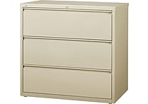 Staples® HL8000 Commercial 42' Wide 3 Drawer Lateral File Cabinet, Putty