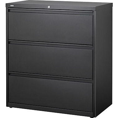 Staples® HL8000 Commercial 36in. 3-Drawer Lateral File Cabinet, Black