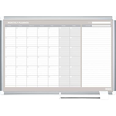 MasterVision  Monthly Planner, White/Silver