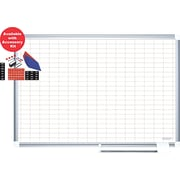 Mastervision  Magnetic Porcelain PW 1x 2 Grid Planner 24x36, Alum. w/Kit