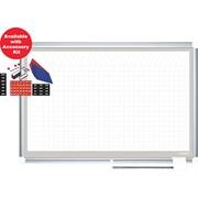 """Master Vision 48""""(H) x 72""""(W) Grid Porcelain Planner Dry Erase Board, Aluminum Frame"""