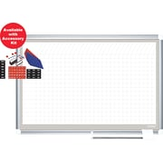 "MasterVision® 36""H x 48""W Grid Porcelain Planner Dry Erase Board, Aluminium Frame"