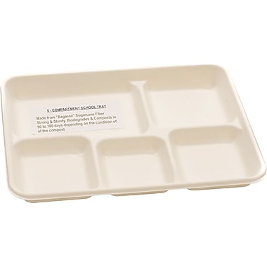 NatureHouse® Compostable Sugarcane Food Tray, 5 Comp, White, 400/Carton