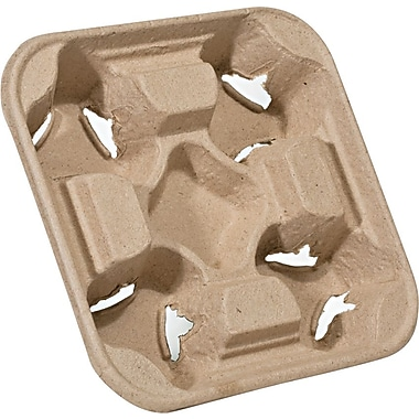 NatureHouse® Recycled Fiber Heavyweight 4 Cup Carry Tray, 6in.(H) x 6in.(W) x 2in.(D), Natural, 75/Pack