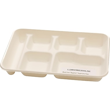 NatureHouse® Compostable Sugarcane Food Tray, 6 Comp, White, 250/Carton