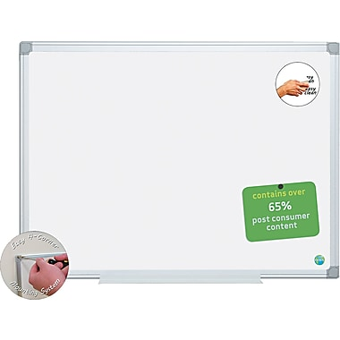 MasterVision  18in.(H) x 24in.(W) Earth Easy-Clean Dry Erase Board, Aluminium Frame