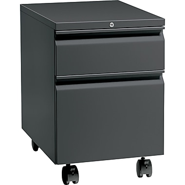 HON® Flagship® 22 7/8in.D 2 Drawer Full Radius Pull Mobile Box/File Pedestal, Charcoal