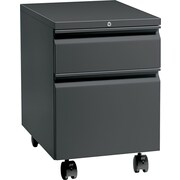 HON® Flagship® 22 7/8D 2 Drawer Full Radius Pull Mobile Box/File Pedestal, Charcoal