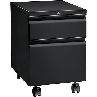 HON® Flagship® 22 7/8in.D 2 Drawer Full Radius Pull Mobile Box/File Pedestal, Black