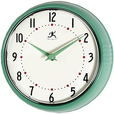Infinity Instruments Home Essentials Retro, Green Solid Iron Wall Clock