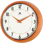 Infinity Instruments 10940-ORANGE Retro Steel Analog Wall Clock, Orange