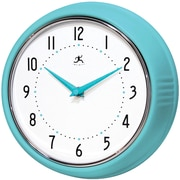 Infinity Instruments 10940-TQSE Retro Steel Analog Wall Clock, Blue
