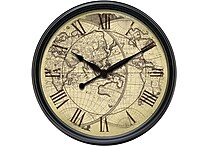 "Infinity Instruments 24"" Columbus Traditional World Map Large Wall Clock"
