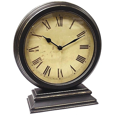 Infinity Instruments 12131KG-TW Dais Iron/Plastic Analog Table Clock, Black